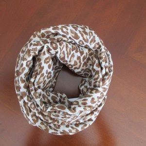Animal Print Scarf Brown White, Polyester NWT